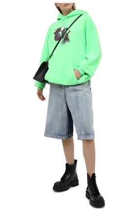 Женский хлопковое худи BALENCIAGA зеленого цвета, арт. 578135/TJVE6 | Фото 2