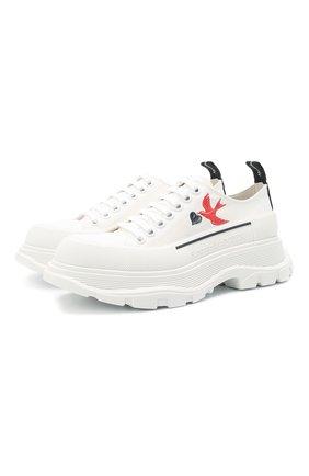 Женская текстильные ботинки tread slick ALEXANDER MCQUEEN белого цвета, арт. 660390/W4L3R | Фото 1 (Материал внутренний: Натуральная кожа; Материал внешний: Текстиль; Подошва: Платформа; Каблук высота: Низкий)