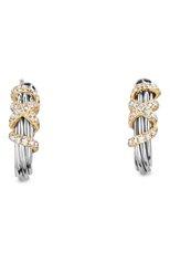 Женские серьги DAVID YURMAN бесцветного цвета, арт. E13167DS8ADI   Фото 1 (Материал сплава: Серебро, Желтое золото; Драгоценные камни: Бриллианты)