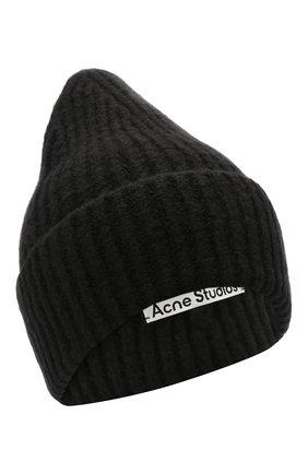 Женская шапка из шерсти и кашемира ACNE STUDIOS черного цвета, арт. C40106/W | Фото 1