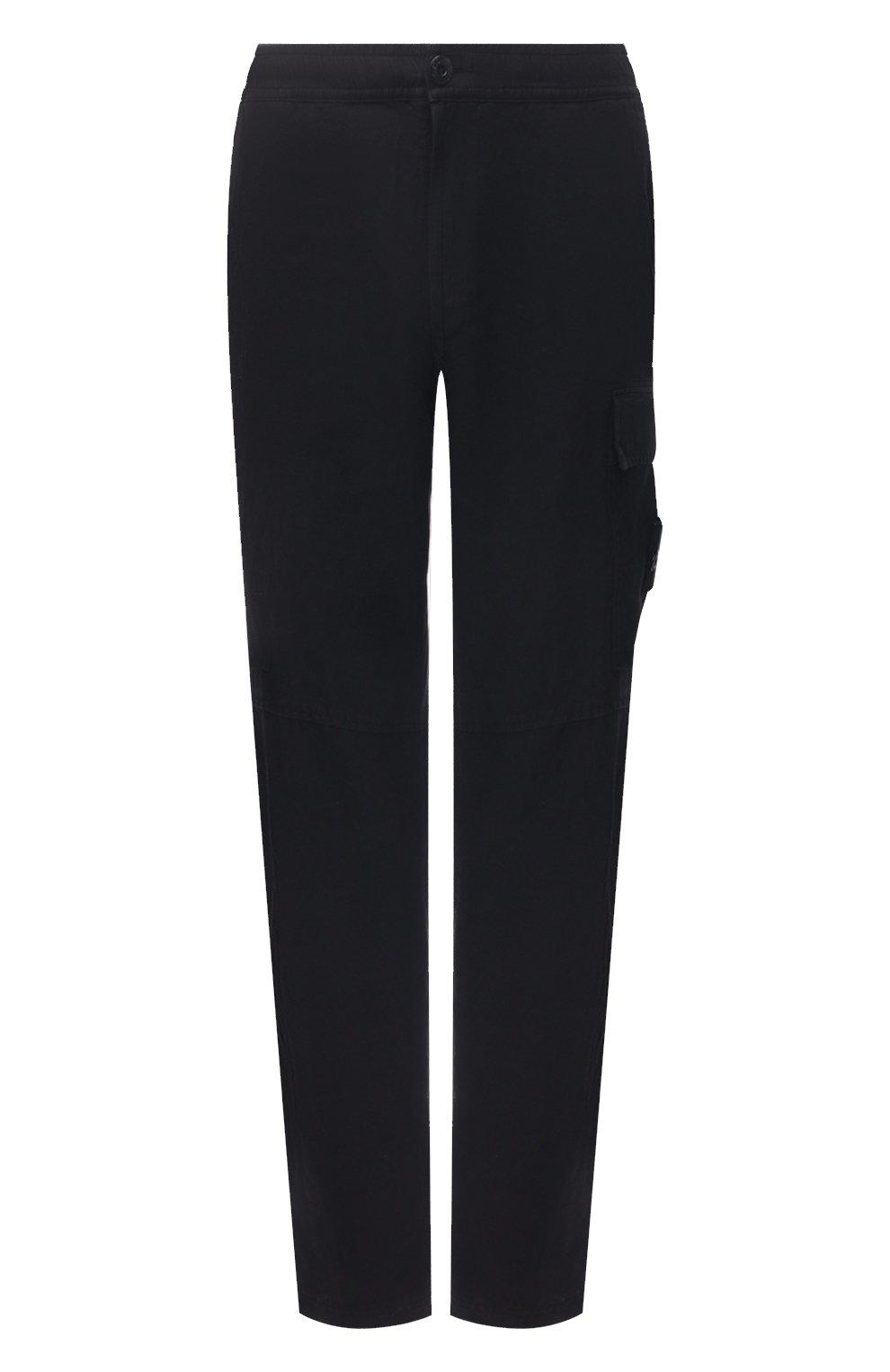 Мужские льняные брюки-карго STONE ISLAND темно-синего цвета, арт. 741531601   Фото 1 (Силуэт М (брюки): Карго; Длина (брюки, джинсы): Стандартные; Случай: Повседневный; Материал внешний: Лен; Стили: Кэжуэл)