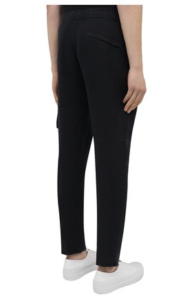 Мужские льняные брюки-карго STONE ISLAND темно-синего цвета, арт. 741531601   Фото 4 (Силуэт М (брюки): Карго; Длина (брюки, джинсы): Стандартные; Случай: Повседневный; Материал внешний: Лен; Стили: Кэжуэл)