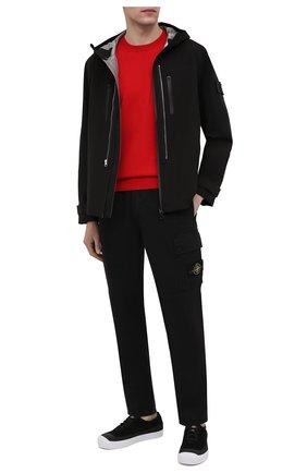 Мужские льняные брюки-карго STONE ISLAND черного цвета, арт. 741531601 | Фото 2