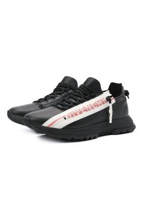 Мужские кожаные кроссовки GIVENCHY черного цвета, арт. BH003MH0UB   Фото 1