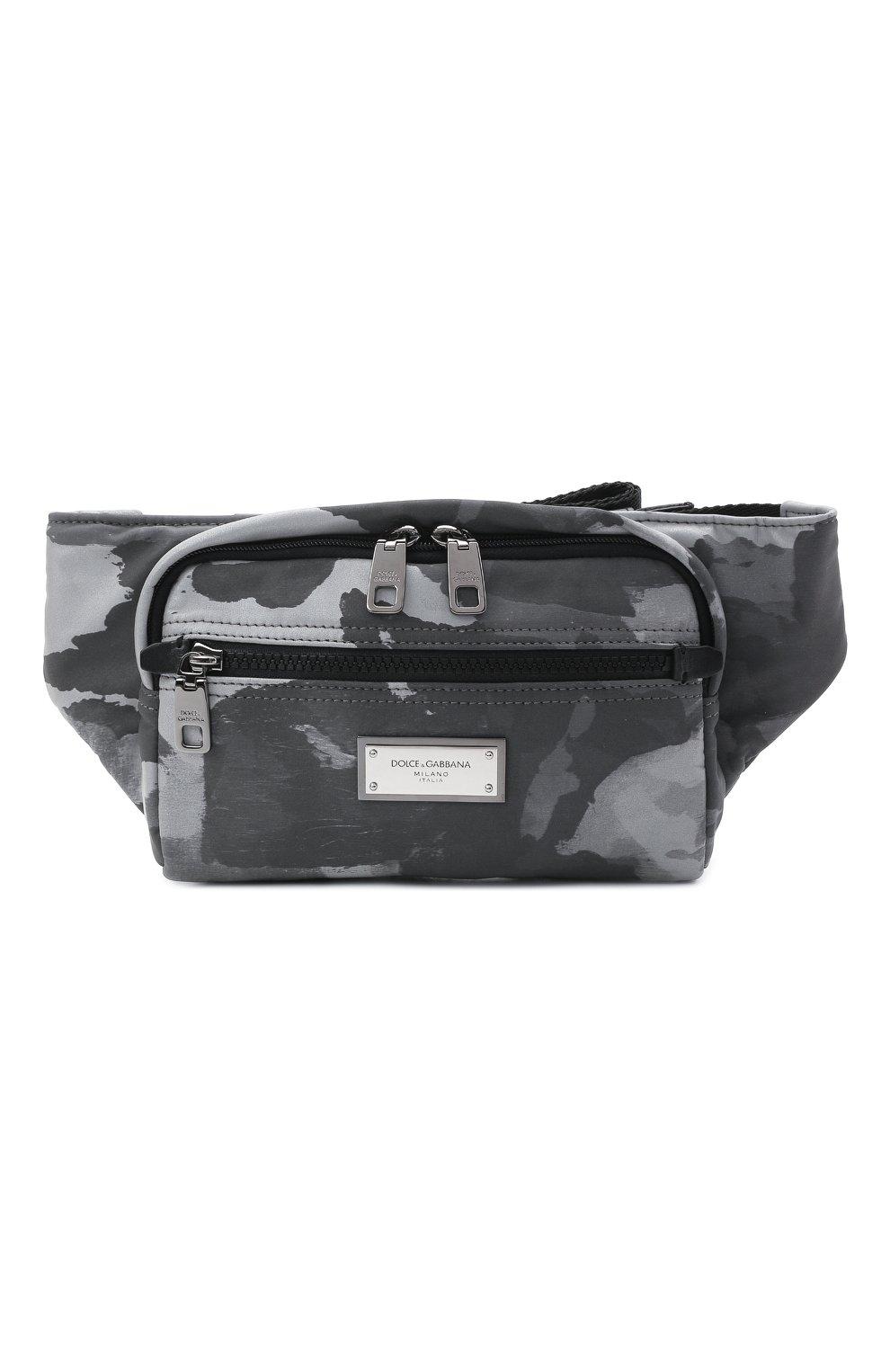 Мужская текстильная поясная сумка DOLCE & GABBANA серого цвета, арт. BM1967/A0282 | Фото 1 (Ремень/цепочка: На ремешке; Материал: Текстиль)