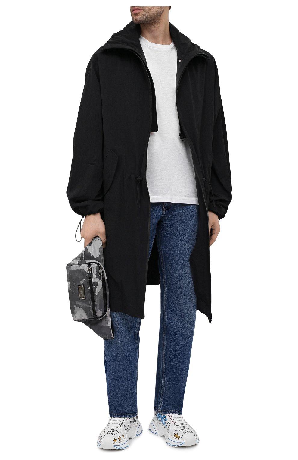 Мужская текстильная поясная сумка DOLCE & GABBANA серого цвета, арт. BM1967/A0282 | Фото 2 (Ремень/цепочка: На ремешке; Материал: Текстиль)