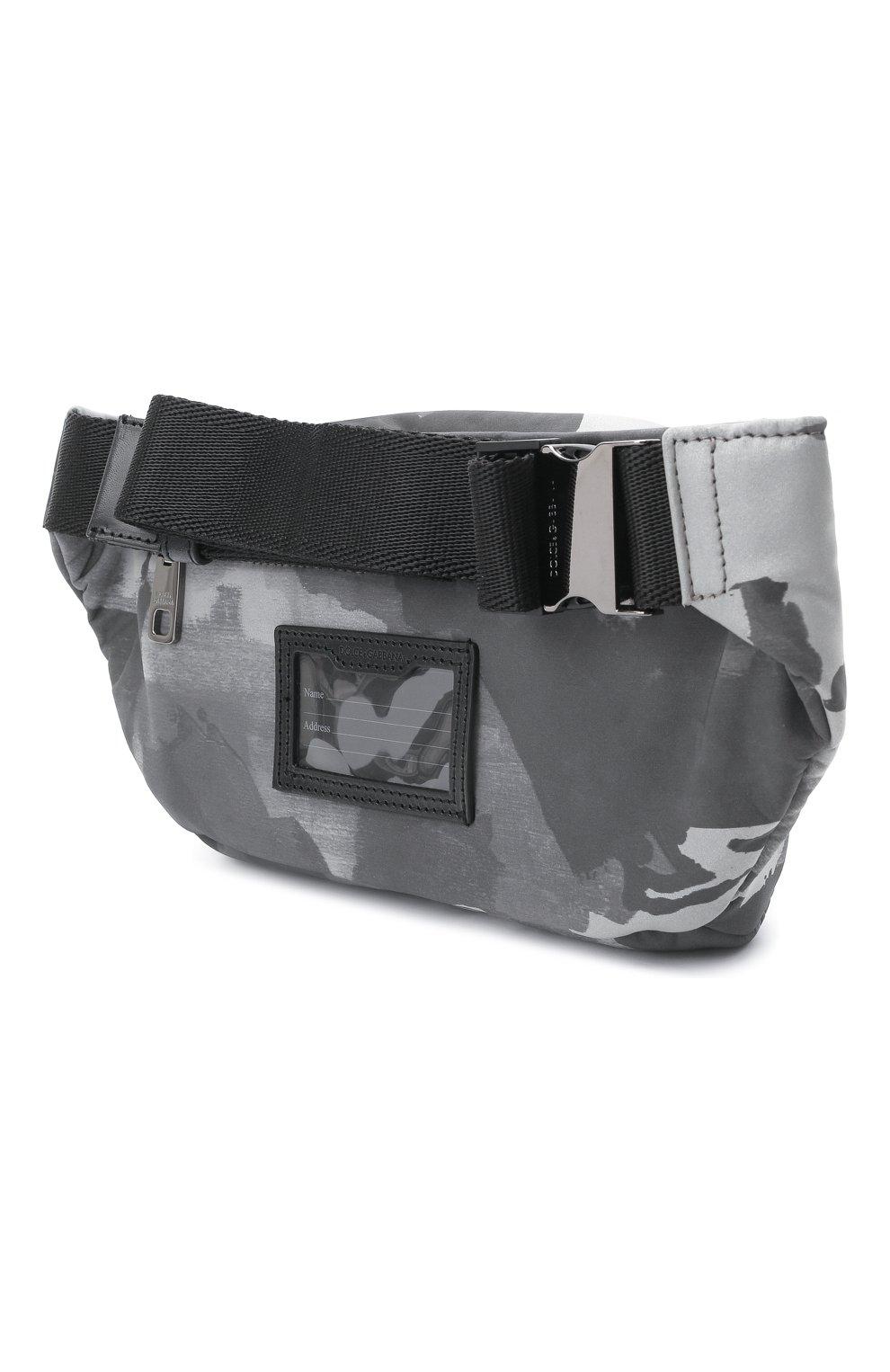 Мужская текстильная поясная сумка DOLCE & GABBANA серого цвета, арт. BM1967/A0282 | Фото 3 (Ремень/цепочка: На ремешке; Материал: Текстиль)