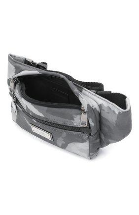 Мужская текстильная поясная сумка DOLCE & GABBANA серого цвета, арт. BM1967/A0282 | Фото 4 (Ремень/цепочка: На ремешке; Материал: Текстиль)