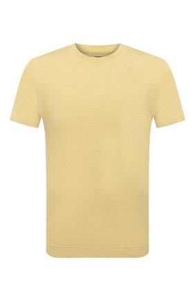 Мужская льняная футболка FEDELI желтого цвета, арт. 4UED0151 | Фото 1