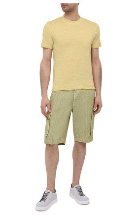 Мужская льняная футболка FEDELI желтого цвета, арт. 4UED0151 | Фото 2
