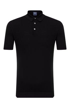 Мужское хлопковое поло FEDELI черного цвета, арт. 4UED5910   Фото 1