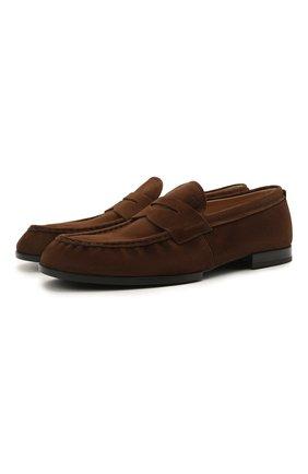 Мужские замшевые пенни-лоферы TOD'S коричневого цвета, арт. XXM02E0EC600A6 | Фото 1 (Материал внутренний: Натуральная кожа; Мужское Кросс-КТ: Лоферы-обувь; Стили: Кэжуэл; Материал внешний: Замша)