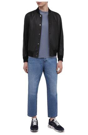 Мужские текстильные кроссовки zac-zac PREMIATA темно-синего цвета, арт. ZACZAC/VAR5240 | Фото 2 (Материал внешний: Текстиль; Подошва: Массивная; Материал внутренний: Натуральная кожа; Стили: Гранж)