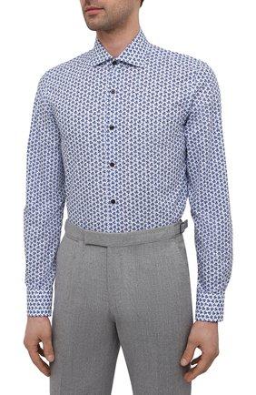 Мужская хлопковая сорочка SONRISA синего цвета, арт. IFI0R9/BC/C4040 | Фото 3 (Манжеты: На пуговицах; Рукава: Длинные; Воротник: Акула; Длина (для топов): Стандартные; Принт: С принтом; Рубашки М: Slim Fit; Материал внешний: Хлопок; Стили: Классический; Случай: Формальный)
