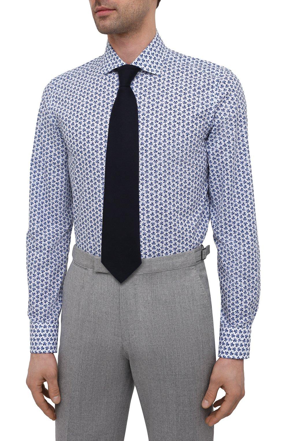 Мужская хлопковая сорочка SONRISA синего цвета, арт. IFI0R9/BC/C4040 | Фото 4 (Манжеты: На пуговицах; Рукава: Длинные; Воротник: Акула; Длина (для топов): Стандартные; Принт: С принтом; Рубашки М: Slim Fit; Материал внешний: Хлопок; Стили: Классический; Случай: Формальный)