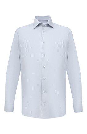 Мужская хлопковая сорочка ETON голубого цвета, арт. 1000 02231 | Фото 1 (Длина (для топов): Стандартные; Материал внешний: Хлопок; Рукава: Длинные; Случай: Формальный; Рубашки М: Regular Fit; Манжеты: На пуговицах; Принт: Клетка; Воротник: Акула; Стили: Классический)