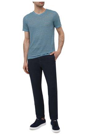 Мужские льняные брюки 120% LINO темно-синего цвета, арт. T0M2131/0253/000 | Фото 2 (Материал внешний: Лен; Длина (брюки, джинсы): Стандартные; Случай: Повседневный; Стили: Кэжуэл)