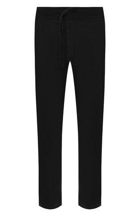 Мужские льняные брюки 120% LINO черного цвета, арт. T0M2131/0253/000 | Фото 1 (Длина (брюки, джинсы): Стандартные; Случай: Повседневный; Материал внешний: Лен; Стили: Кэжуэл)