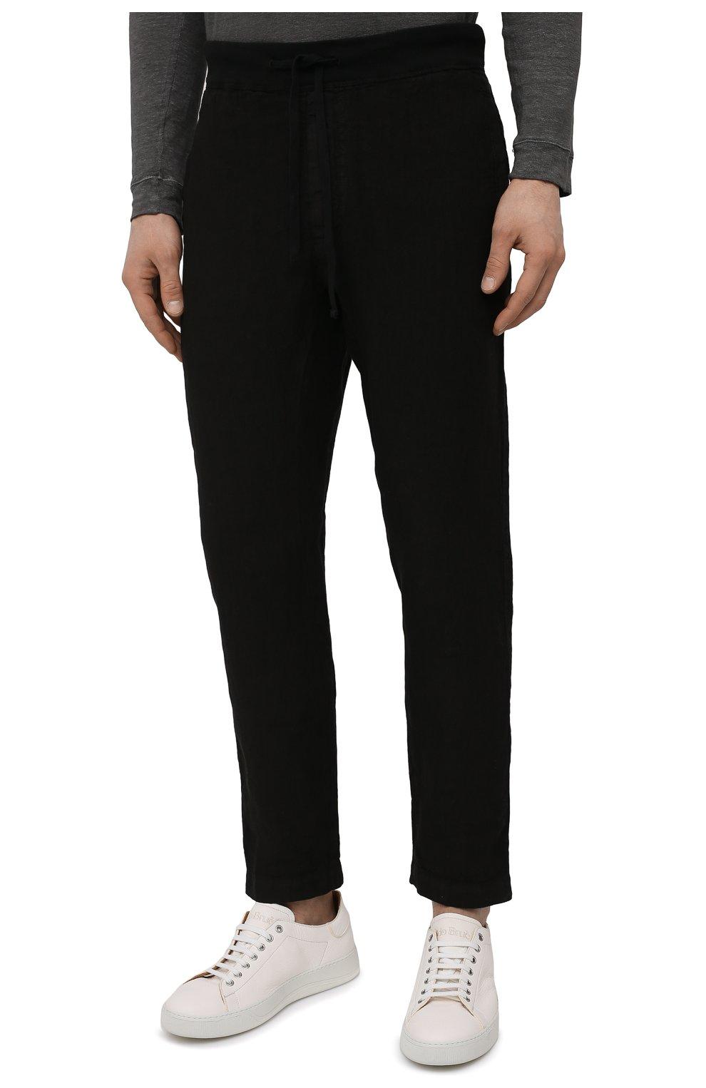 Мужские льняные брюки 120% LINO черного цвета, арт. T0M2131/0253/000 | Фото 3 (Длина (брюки, джинсы): Стандартные; Случай: Повседневный; Материал внешний: Лен; Стили: Кэжуэл)