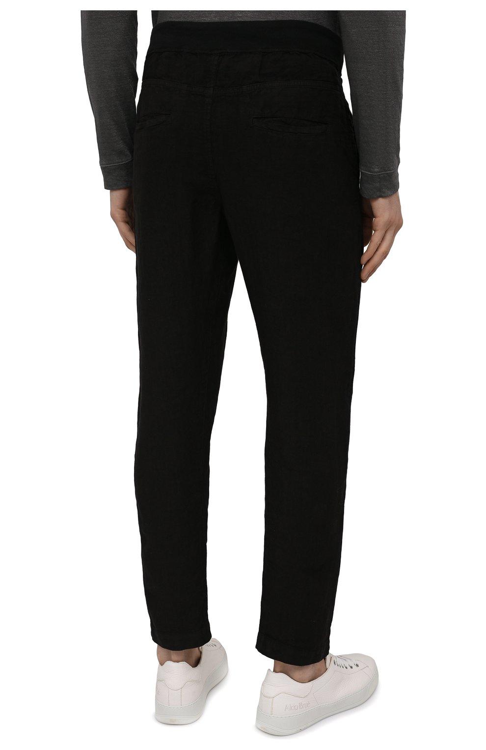 Мужские льняные брюки 120% LINO черного цвета, арт. T0M2131/0253/000 | Фото 4 (Длина (брюки, джинсы): Стандартные; Случай: Повседневный; Материал внешний: Лен; Стили: Кэжуэл)