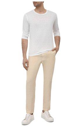 Мужские льняные брюки 120% LINO бежевого цвета, арт. T0M2131/0253/000 | Фото 2