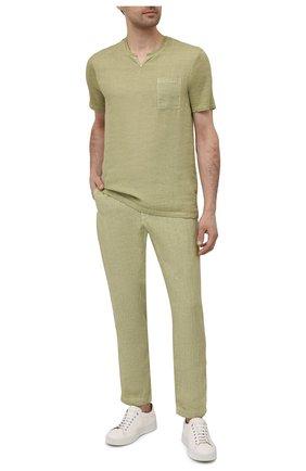 Мужские льняные брюки 120% LINO светло-зеленого цвета, арт. T0M2131/0253/S00 | Фото 2