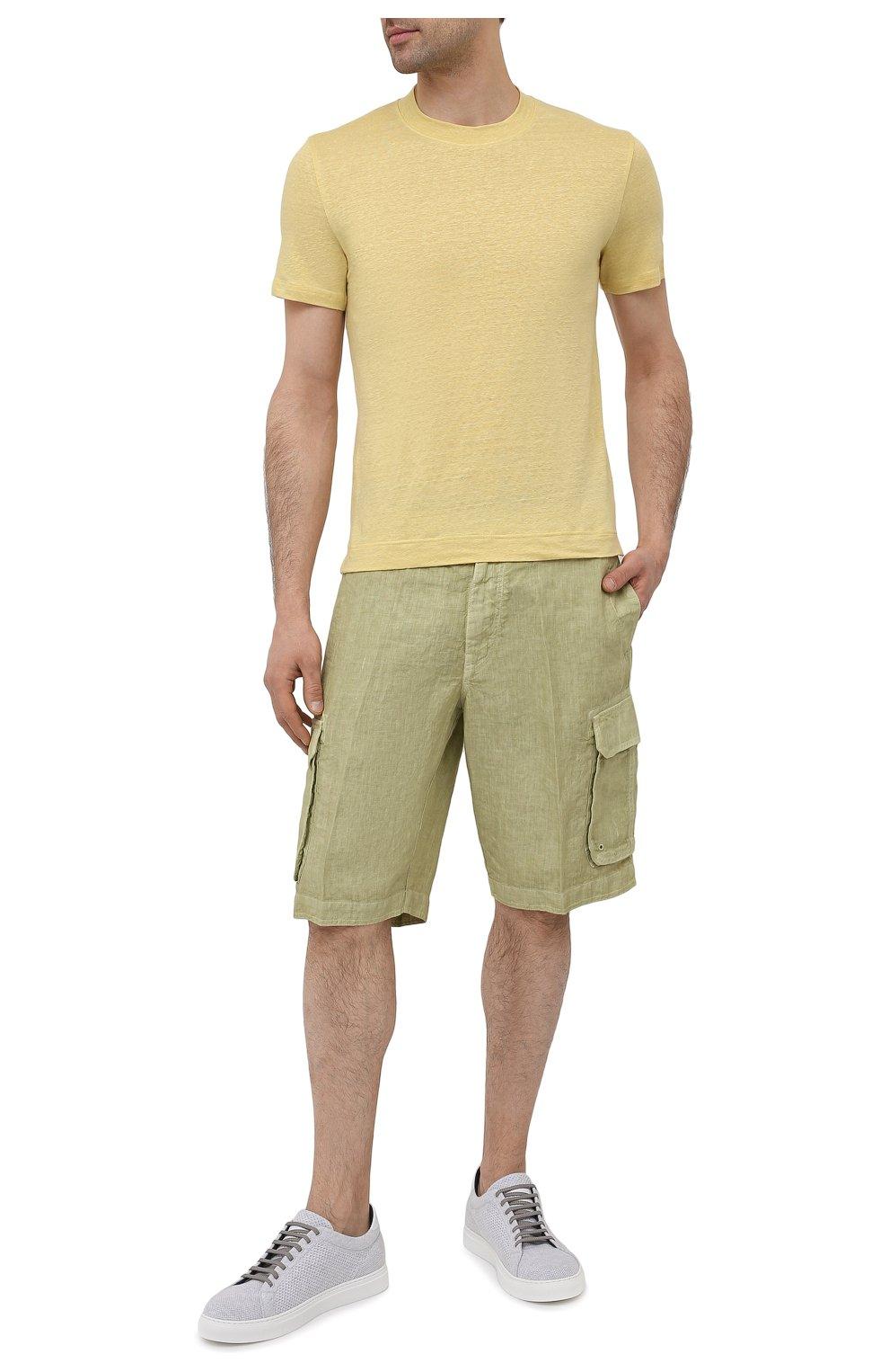 Мужские льняные шорты 120% LINO светло-зеленого цвета, арт. T0M2426/0253/S00   Фото 2 (Мужское Кросс-КТ: Шорты-одежда; Принт: Без принта; Длина Шорты М: Ниже колена; Материал внешний: Лен; Стили: Кэжуэл)