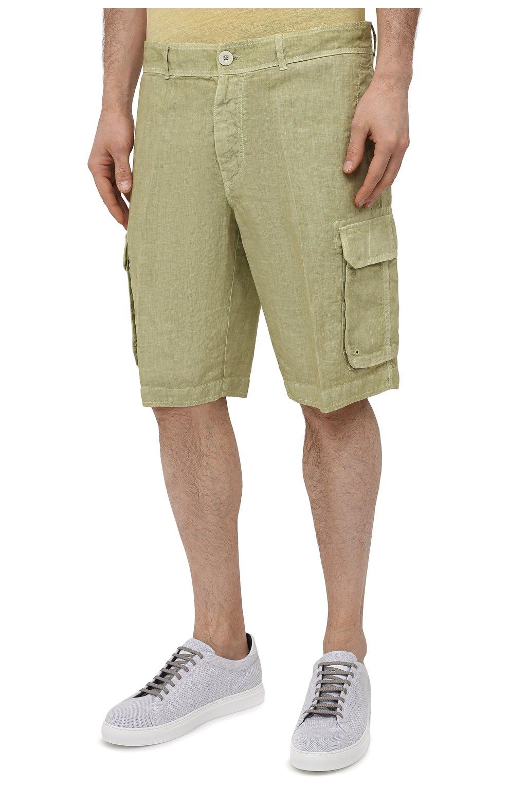 Мужские льняные шорты 120% LINO светло-зеленого цвета, арт. T0M2426/0253/S00   Фото 3 (Мужское Кросс-КТ: Шорты-одежда; Принт: Без принта; Длина Шорты М: Ниже колена; Материал внешний: Лен; Стили: Кэжуэл)