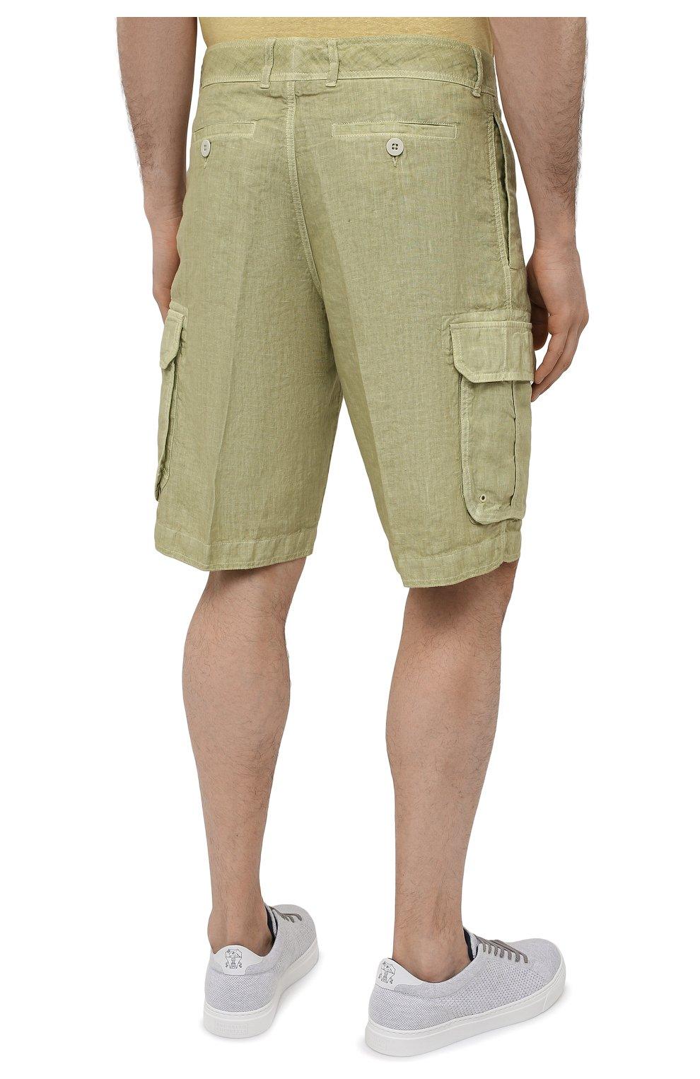 Мужские льняные шорты 120% LINO светло-зеленого цвета, арт. T0M2426/0253/S00   Фото 4 (Мужское Кросс-КТ: Шорты-одежда; Принт: Без принта; Длина Шорты М: Ниже колена; Материал внешний: Лен; Стили: Кэжуэл)