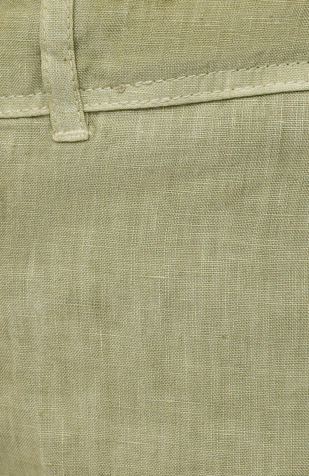 Мужские льняные шорты 120% LINO светло-зеленого цвета, арт. T0M2426/0253/S00   Фото 5 (Мужское Кросс-КТ: Шорты-одежда; Принт: Без принта; Длина Шорты М: Ниже колена; Материал внешний: Лен; Стили: Кэжуэл)