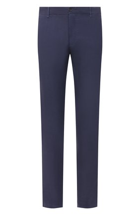 Мужские льняные брюки 120% LINO темно-синего цвета, арт. T0M29BJ/0253/S00 | Фото 1 (Длина (брюки, джинсы): Стандартные; Случай: Повседневный; Материал внешний: Лен; Стили: Кэжуэл)