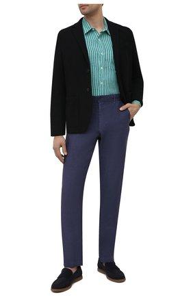 Мужские льняные брюки 120% LINO темно-синего цвета, арт. T0M29BJ/0253/S00 | Фото 2 (Длина (брюки, джинсы): Стандартные; Случай: Повседневный; Материал внешний: Лен; Стили: Кэжуэл)