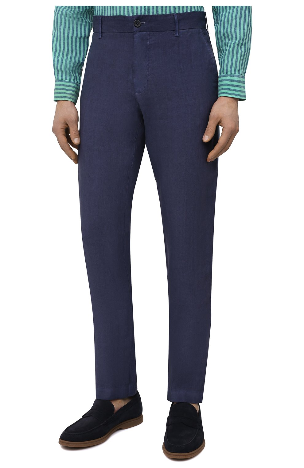 Мужские льняные брюки 120% LINO темно-синего цвета, арт. T0M29BJ/0253/S00 | Фото 3 (Длина (брюки, джинсы): Стандартные; Случай: Повседневный; Материал внешний: Лен; Стили: Кэжуэл)