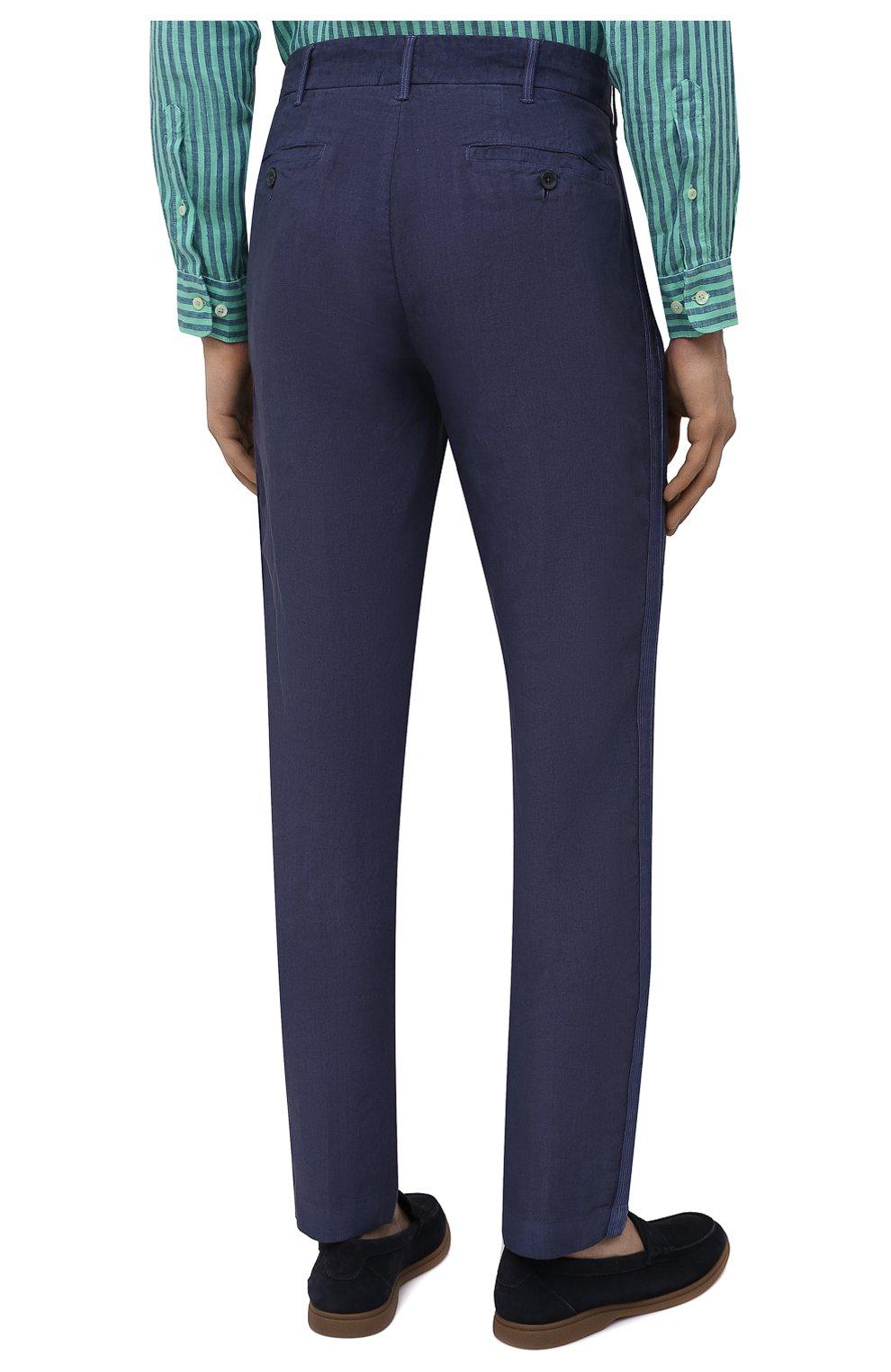 Мужские льняные брюки 120% LINO темно-синего цвета, арт. T0M29BJ/0253/S00 | Фото 4 (Длина (брюки, джинсы): Стандартные; Случай: Повседневный; Материал внешний: Лен; Стили: Кэжуэл)