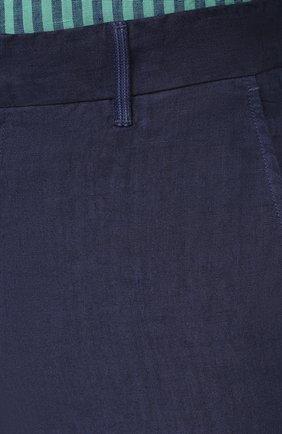 Мужские льняные брюки 120% LINO темно-синего цвета, арт. T0M29BJ/0253/S00 | Фото 5 (Длина (брюки, джинсы): Стандартные; Случай: Повседневный; Материал внешний: Лен; Стили: Кэжуэл)