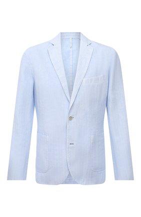 Мужской льняной пиджак 120% LINO голубого цвета, арт. T0M8918/F938/S00 | Фото 1