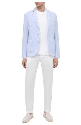 Мужской льняной пиджак 120% LINO голубого цвета, арт. T0M8918/F938/S00 | Фото 2