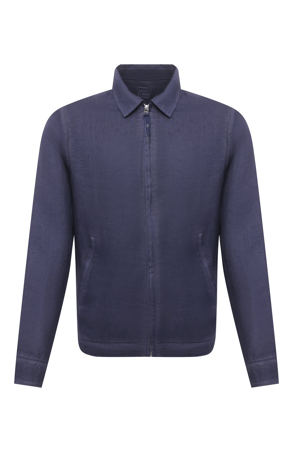 Мужская льняная куртка 120% LINO темно-синего цвета, арт. T0M89AN/D943/S00   Фото 1 (Кросс-КТ: Куртка, Ветровка; Рукава: Длинные; Материал внешний: Лен; Длина (верхняя одежда): Короткие; Материал подклада: Купро; Стили: Кэжуэл)