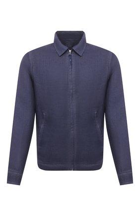 Мужская льняная куртка 120% LINO темно-синего цвета, арт. T0M89AN/D943/S00 | Фото 1
