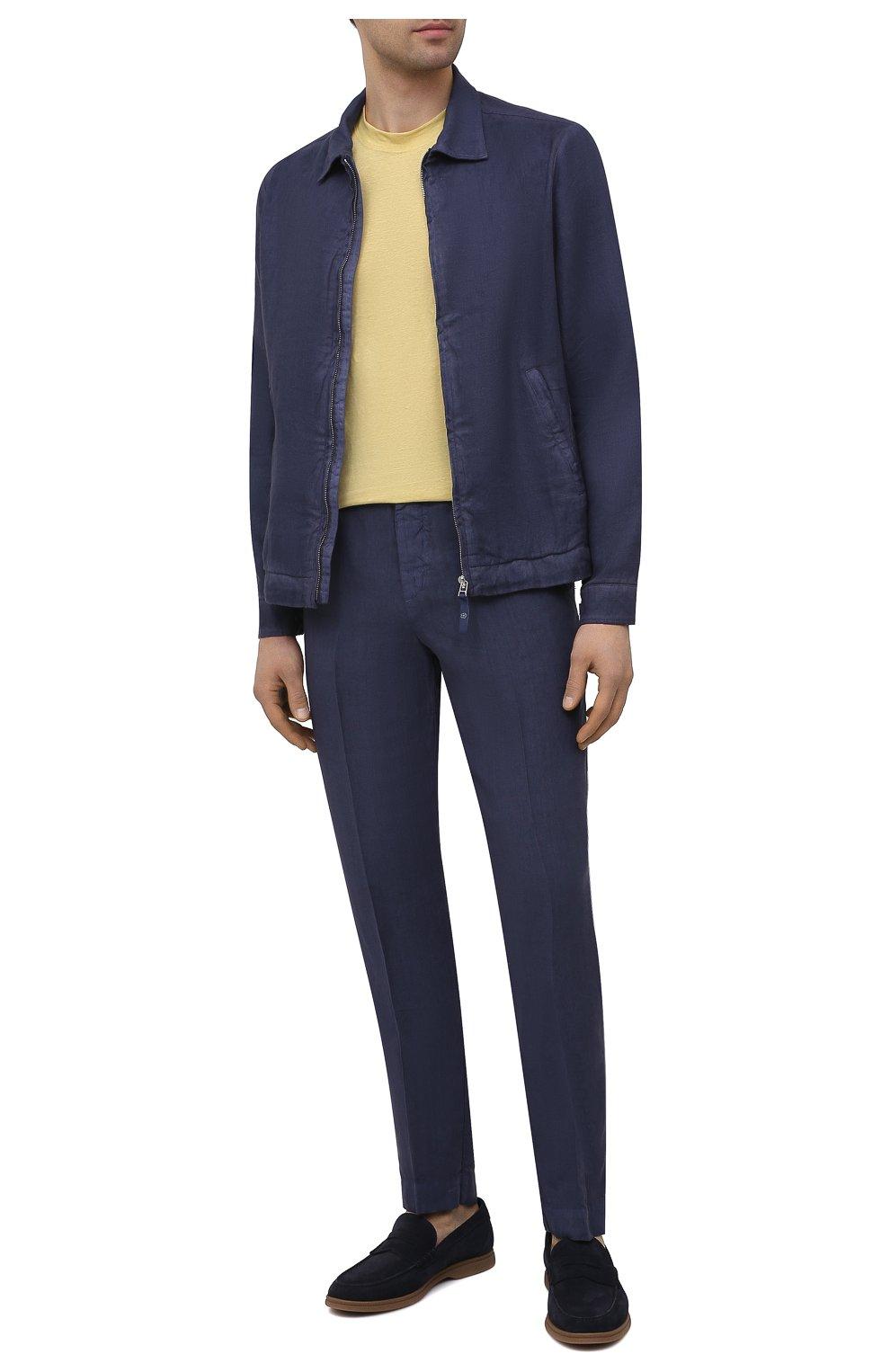 Мужская льняная куртка 120% LINO темно-синего цвета, арт. T0M89AN/D943/S00   Фото 2 (Кросс-КТ: Куртка, Ветровка; Рукава: Длинные; Материал внешний: Лен; Длина (верхняя одежда): Короткие; Материал подклада: Купро; Стили: Кэжуэл)