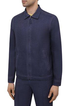 Мужская льняная куртка 120% LINO темно-синего цвета, арт. T0M89AN/D943/S00   Фото 3 (Кросс-КТ: Куртка, Ветровка; Рукава: Длинные; Материал внешний: Лен; Длина (верхняя одежда): Короткие; Материал подклада: Купро; Стили: Кэжуэл)