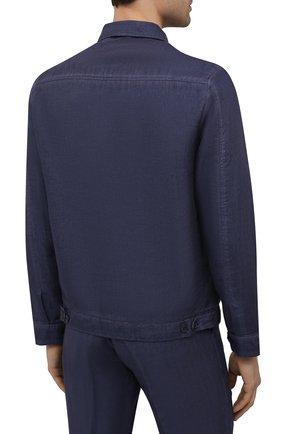 Мужская льняная куртка 120% LINO темно-синего цвета, арт. T0M89AN/D943/S00   Фото 4 (Кросс-КТ: Куртка, Ветровка; Рукава: Длинные; Материал внешний: Лен; Длина (верхняя одежда): Короткие; Материал подклада: Купро; Стили: Кэжуэл)
