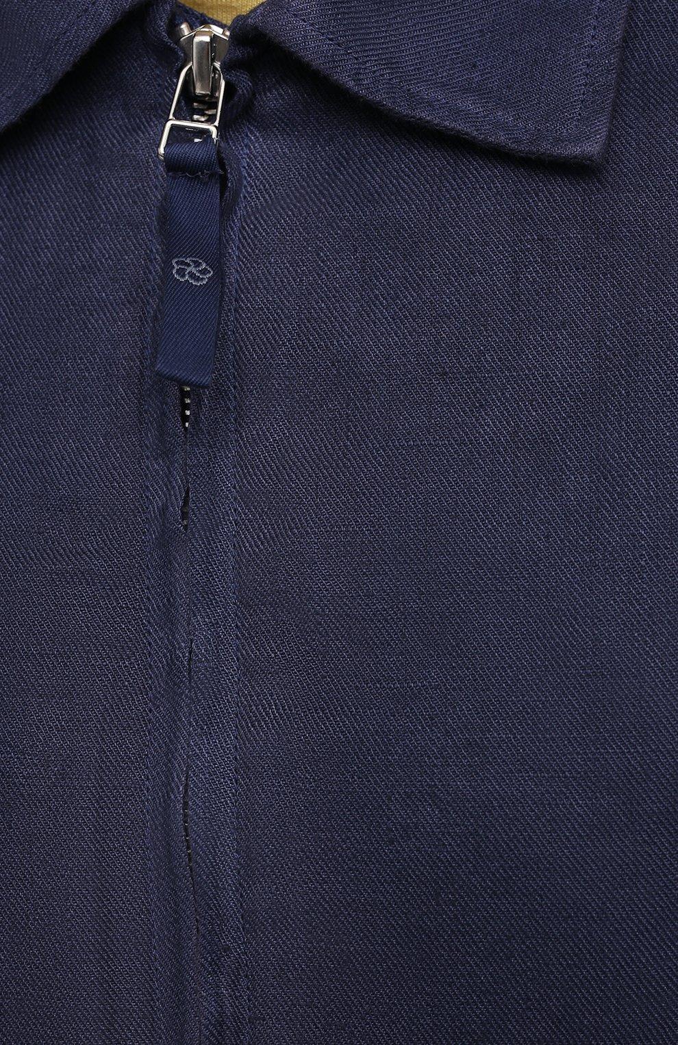 Мужская льняная куртка 120% LINO темно-синего цвета, арт. T0M89AN/D943/S00   Фото 5 (Кросс-КТ: Куртка, Ветровка; Рукава: Длинные; Материал внешний: Лен; Длина (верхняя одежда): Короткие; Материал подклада: Купро; Стили: Кэжуэл)