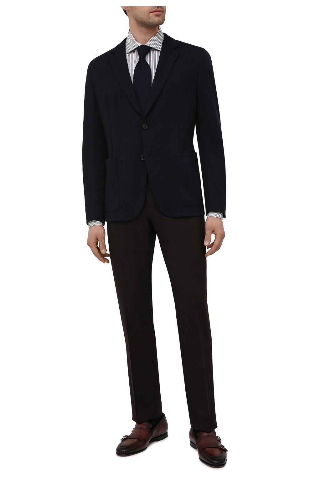 Мужская хлопковая сорочка ERMENEGILDO ZEGNA коричневого цвета, арт. 901013/9MS0BA   Фото 2