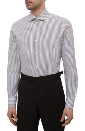 Мужская хлопковая сорочка ERMENEGILDO ZEGNA коричневого цвета, арт. 901013/9MS0BA   Фото 3