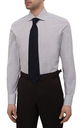 Мужская хлопковая сорочка ERMENEGILDO ZEGNA коричневого цвета, арт. 901013/9MS0BA   Фото 4