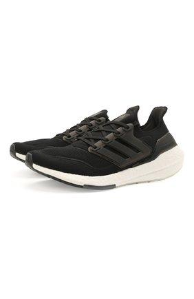 Мужские текстильные кроссовки ultraboost 21 ADIDAS черного цвета, арт. FY0378 | Фото 1