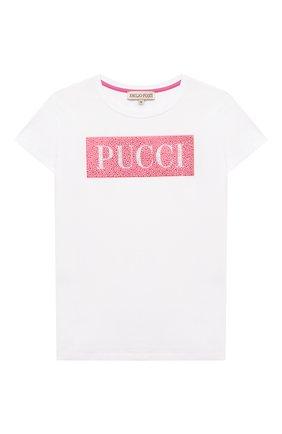 Детская хлопковая футболка EMILIO PUCCI белого цвета, арт. 9O8021 | Фото 1