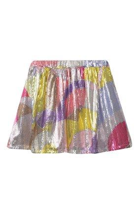Детская юбка с пайетками EMILIO PUCCI разноцветного цвета, арт. 9O7060 | Фото 1