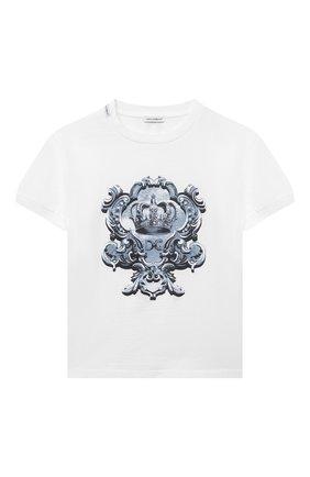 Детская хлопковая футболка DOLCE & GABBANA белого цвета, арт. L4JT8A/G7YBK/8-14 | Фото 1